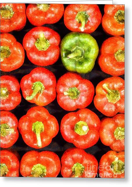 Paint Greeting Cards - Red peppers Greeting Card by George Atsametakis