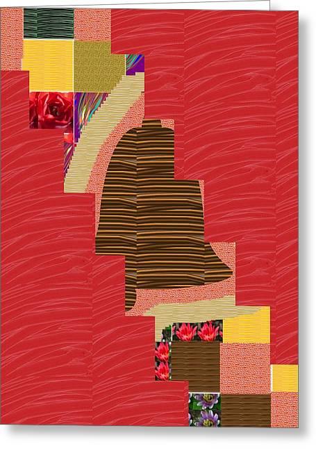 Surprise Greeting Cards - Red Silken Base CROSS through Art Decoration Greeting Card by Navin Joshi