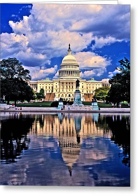 Neo Greeting Cards - Reflection Of A Government Building Greeting Card by Panoramic Images