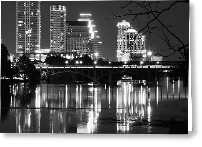 Austin At Night Greeting Cards - Reflections of Austin Skyline in Lady Bird Lake at night Greeting Card by Jeff Kauffman