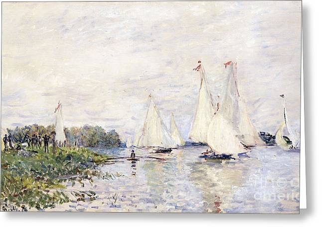 Boats At Dock Greeting Cards - Regatta at Argenteuil Greeting Card by Claude Monet