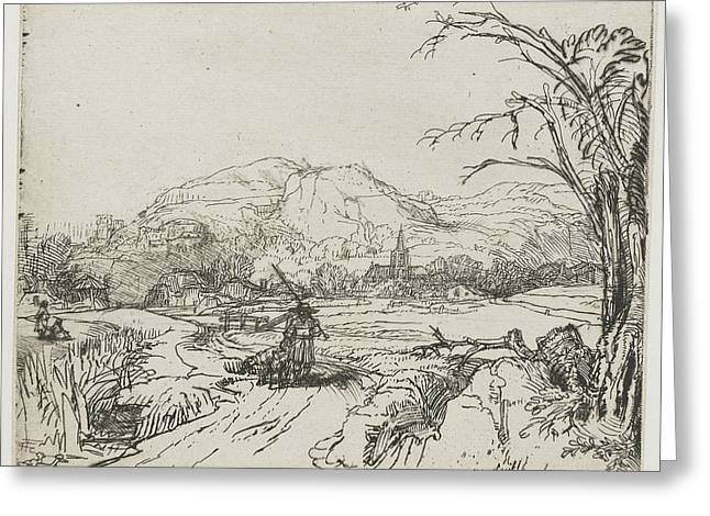 """storm Prints"" Drawings Greeting Cards - Rembrandt landscape sketch Greeting Card by Rembrandt"