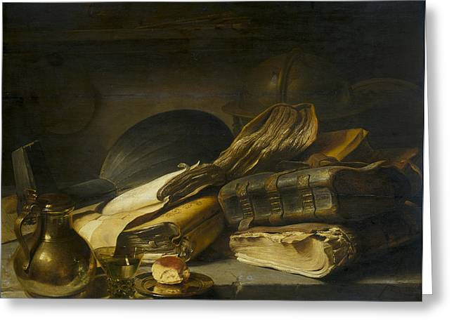 Storm Prints Paintings Greeting Cards - Rembrandt Books still life Greeting Card by Rembrandt