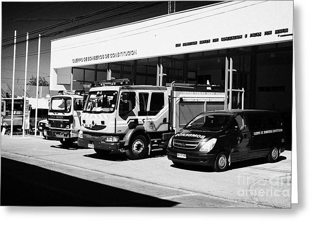 Brigade Greeting Cards - Renault Fire Trucks Tenders Constitucion Fire Station Chile Greeting Card by Joe Fox