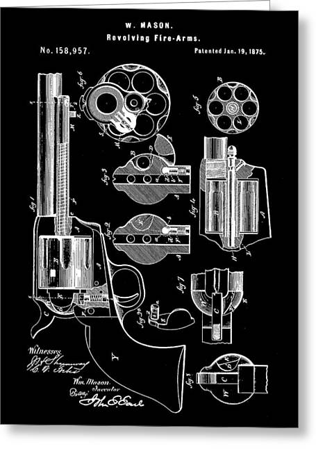 Marksman Greeting Cards - Revolving Fire Arm Patent 1875 - Black Greeting Card by Stephen Younts