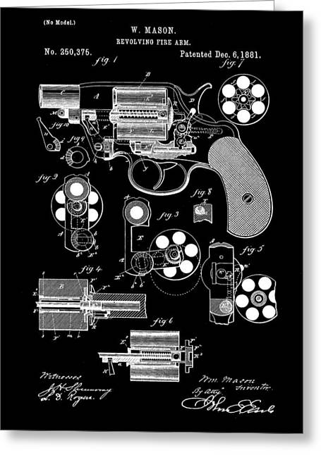 Marksman Greeting Cards - Revolving Fire Arm Patent 1881 - Black Greeting Card by Stephen Younts