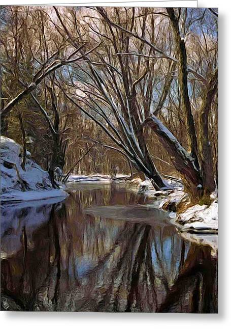 River In Winter Greeting Card by Pat Now