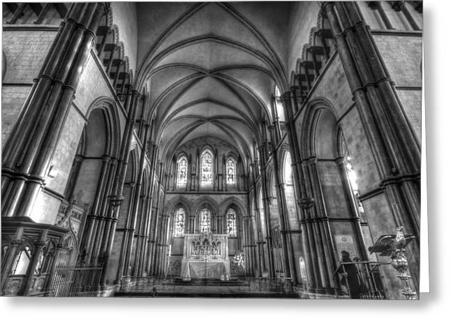 Rochester Greeting Cards - Rochester Cathedral interior HDR. Greeting Card by David French