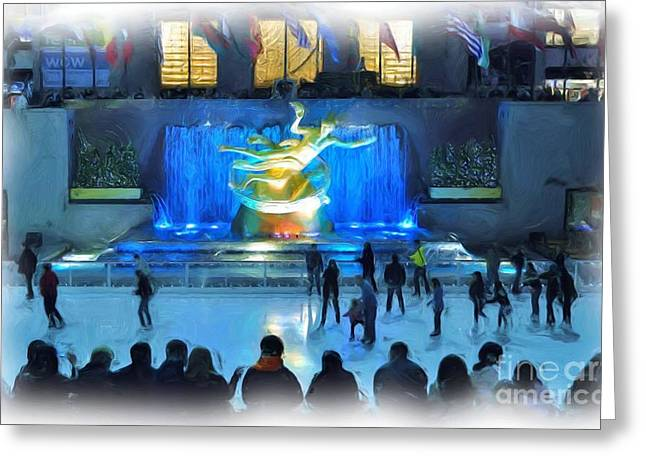 Rockefeller Center Skating Rink Greeting Card by Allen Beatty