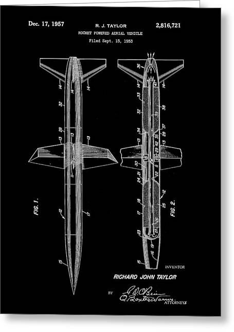 Jet-propelled Greeting Cards - Rocket Patent 1953 - Black Greeting Card by Stephen Younts