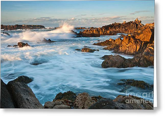 Rocky Asilomar Beach In Monterey Bay At Sunset. Greeting Card by Jamie Pham