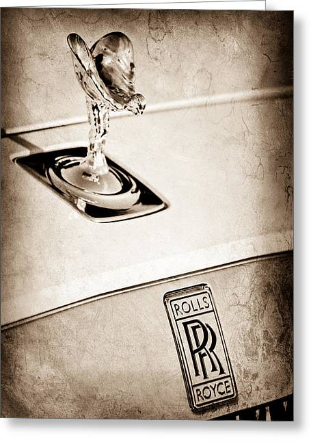 Roll Photographs Greeting Cards - Rolls-Royce Hood Ornament Greeting Card by Jill Reger