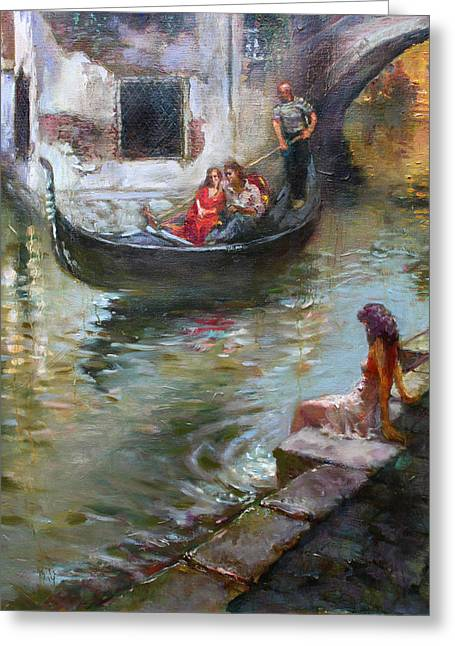 Venetian Balcony Greeting Cards - Romance in Venice  Greeting Card by Ylli Haruni