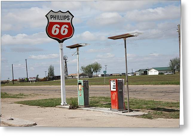 Out-of-date Greeting Cards - Route 66 - Adrian Texas Greeting Card by Frank Romeo