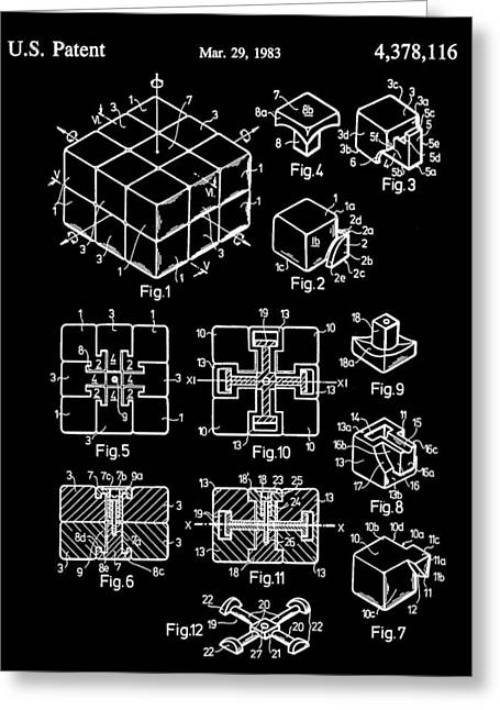 Ideal Digital Greeting Cards - Rubiks Cube Patent 1983 - Black Greeting Card by Stephen Younts