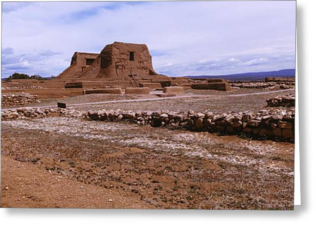 Pueblo Architecture Greeting Cards - Ruins Of The Pecos Pueblo Mission Greeting Card by Panoramic Images
