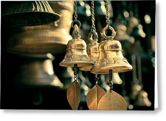 Metal Pyrography Greeting Cards - Sacrificial bells Greeting Card by Raimond Klavins