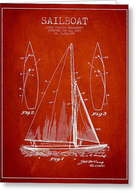 Sailboat Digital Greeting Cards - Sailboat Patent Drawing From 1927 Greeting Card by Aged Pixel