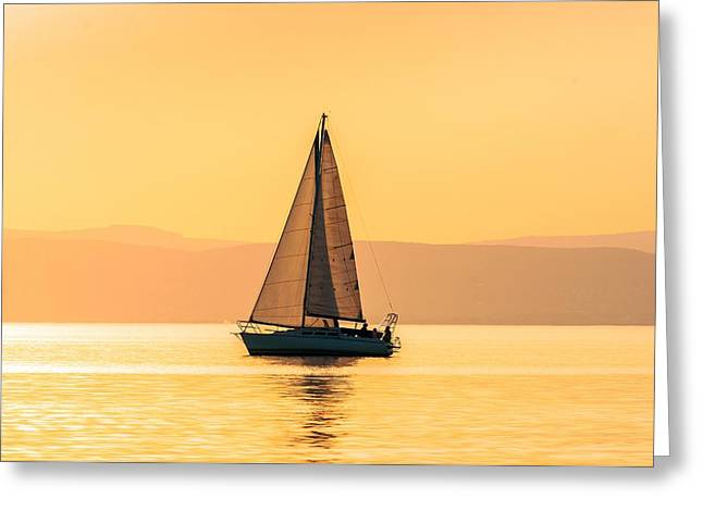 Sailing Boat Pyrography Greeting Cards - Sailing boats with a beautiful sunset Greeting Card by Oliver Sved