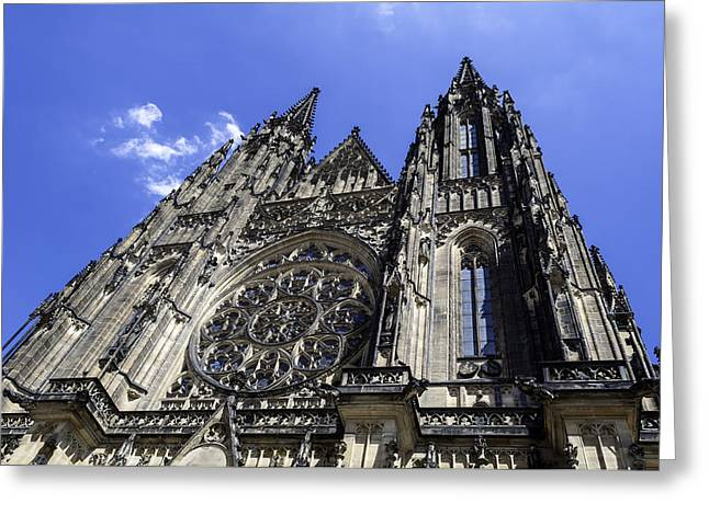 Medieval Temple Greeting Cards - Saint Vitus Cathedral. Greeting Card by Fernando Barozza
