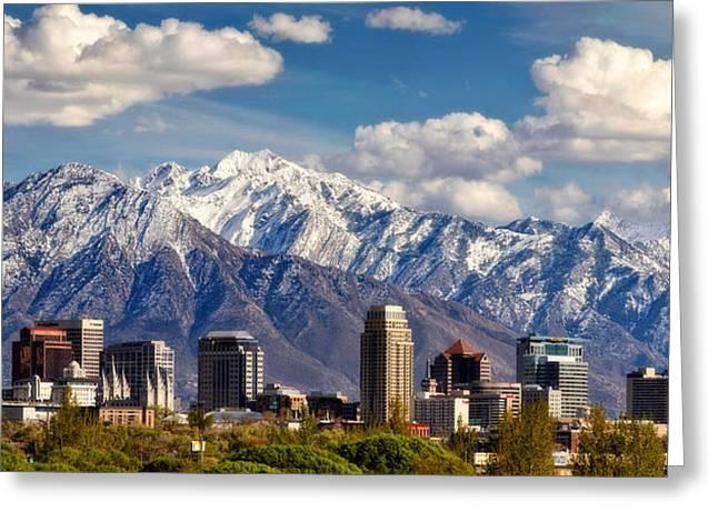 Mormon Tabernacle Greeting Cards - Salt Lake City Skyline Greeting Card by Utah Images