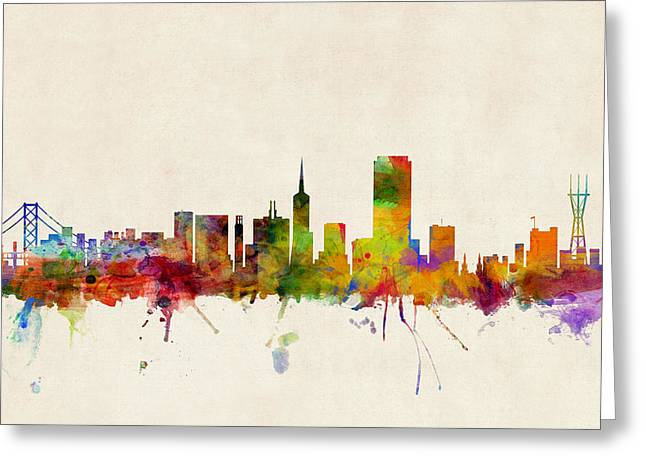 Skyline Greeting Cards - San Francisco City Skyline Greeting Card by Michael Tompsett