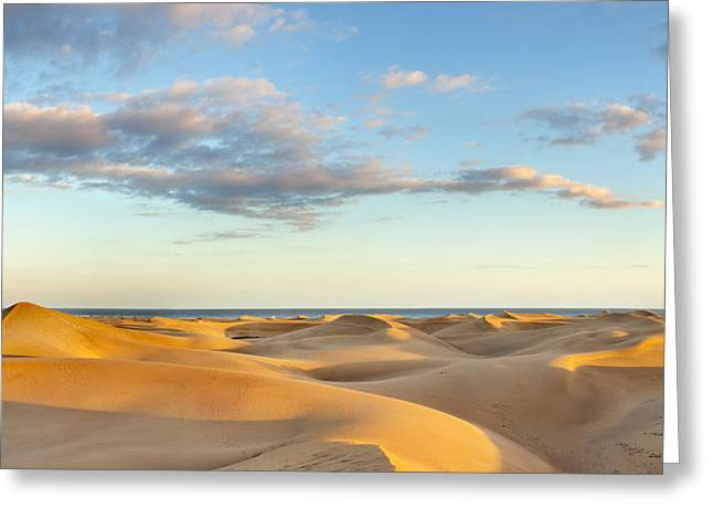 Sahara Sunlight Greeting Cards - Sand Dunes In A Desert, Maspalomas Greeting Card by Panoramic Images