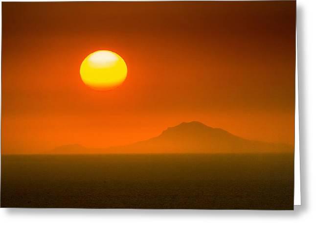 Santorini Sunset Greeting Card by Bjoern Kindler