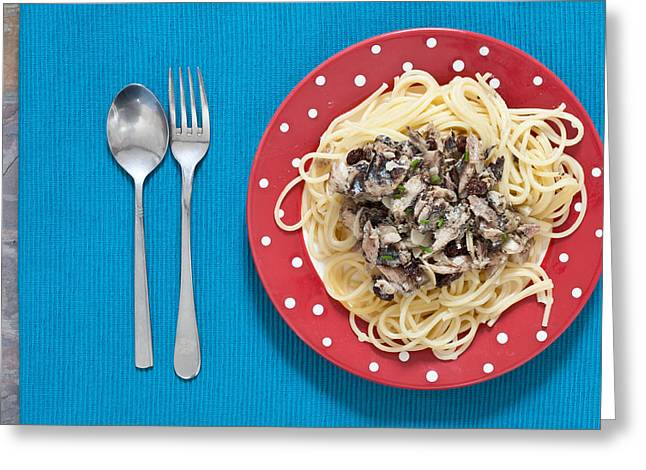 Sardines and spaghetti Greeting Card by Tom Gowanlock