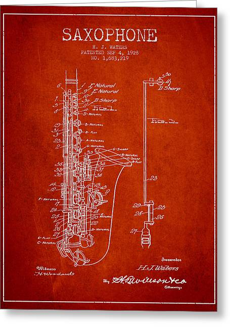 Saxophone Greeting Cards - Saxophone Patent Drawing From 1928 Greeting Card by Aged Pixel