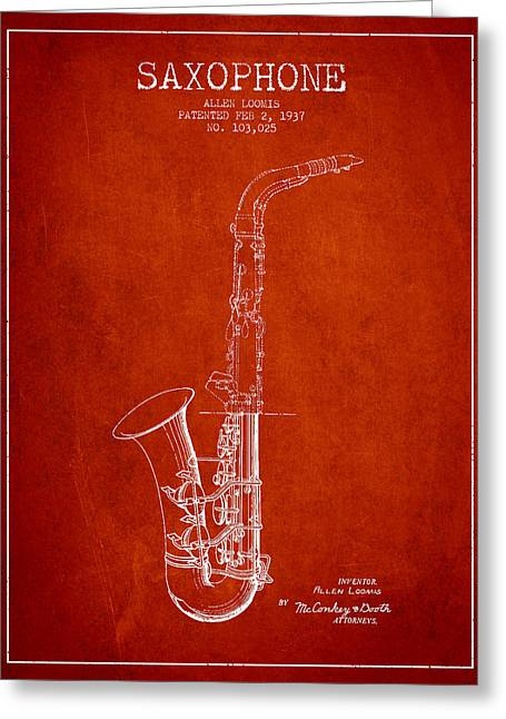 Saxophone Patent Drawing From 1937 - Red Greeting Card by Aged Pixel