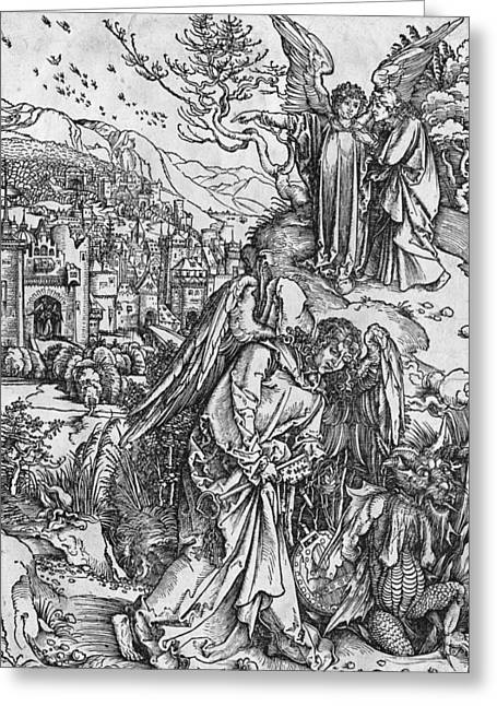 Abyss Greeting Cards - Scene from the Apocalypse Greeting Card by Albrecht Durer or Duerer