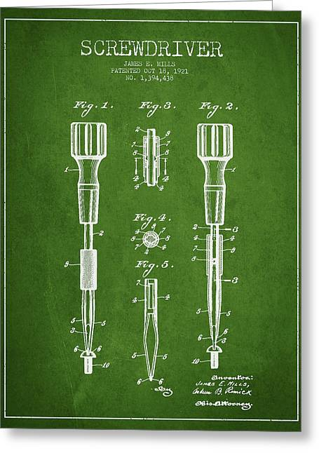 Carpenter Greeting Cards - Screwdriver Patent Drawing From 1921 Greeting Card by Aged Pixel