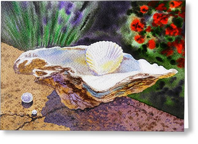 Sea Shell Art Paintings Greeting Cards - Sea Shell and Pearls Morning Light Greeting Card by Irina Sztukowski