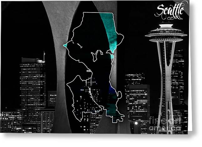 City Map Greeting Cards - Seattle Map and Skyline Watercolor Greeting Card by Marvin Blaine