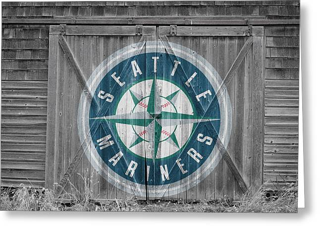 Recently Sold -  - Glove Greeting Cards - Seattle Mariners Greeting Card by Joe Hamilton