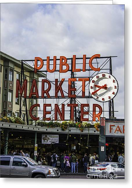 """glass Museum"" Greeting Cards - Seattle Market Greeting Card by Frank Pali"