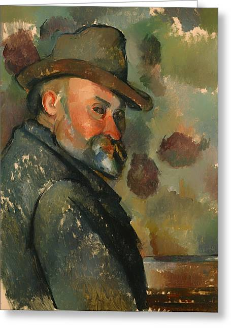 Vintage Painter Greeting Cards - Self-Portrait Greeting Card by Paul Cezanne