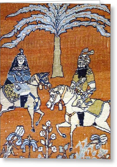 For Sale Tapestries - Textiles Greeting Cards - Shahnameh Ferdowsi Rostam and Sohrab Photos of Persian Antique Rugs Kilims Carpets  Greeting Card by Persian Art