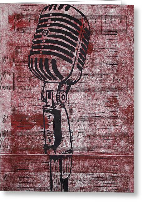 Lino Drawings Greeting Cards - Shure 55s on music Greeting Card by William Cauthern