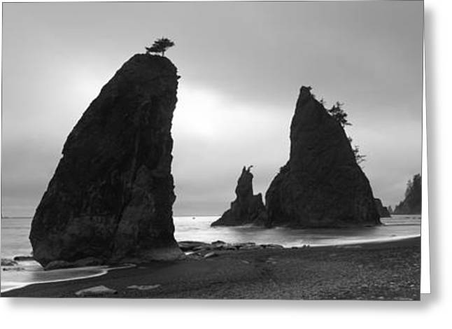 Beaches In Washington Greeting Cards - Silhouette Of Seastacks At Sunset Greeting Card by Panoramic Images