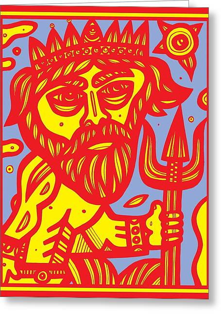Wall Art For Your Home Or Office Greeting Cards - Berlinghof Poseidon Yellow Red Greeting Card by Eddie Alfaro