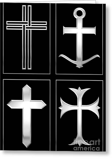 Sacramental Greeting Cards - 4 Silver Crosses Greeting Card by Rose Santuci-Sofranko