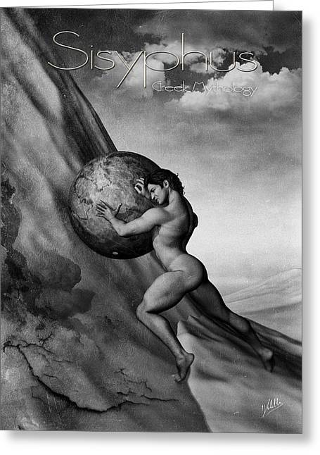 Gray Hair Greeting Cards - Sisyphus Greeting Card by Joaquin Abella