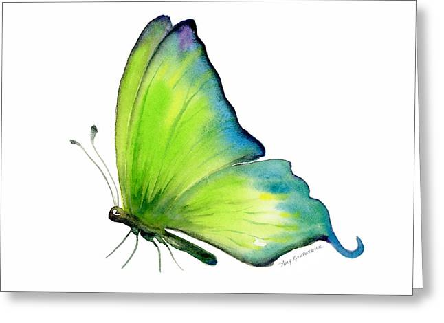 Chartreuse Greeting Cards - 4 Skip Green Butterfly Greeting Card by Amy Kirkpatrick