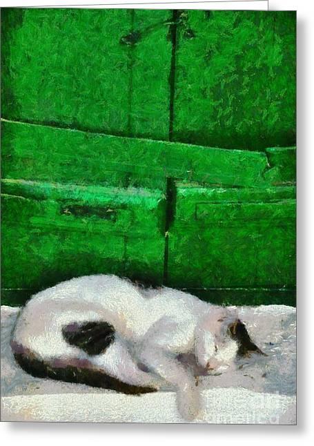 House Greeting Cards - Sleeping cat in Sifnos island Greeting Card by George Atsametakis