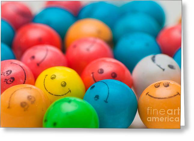 Depth Of Field Greeting Cards - Smiley Face Gum Balls Greeting Card by Amy Cicconi