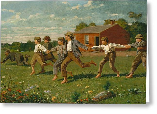 Recently Sold -  - Ply Greeting Cards - Snap the Whip Greeting Card by Winslow Homer