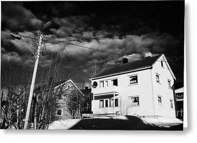 Snow Covered Street Greeting Cards - Snow Covered Street Of Traditional Wooden Houses In Kirkenes Finnmark Norway Europe Greeting Card by Joe Fox