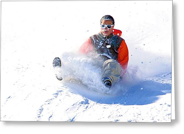 Tobogganing Greeting Cards - Snow Plow Greeting Card by Keith Armstrong